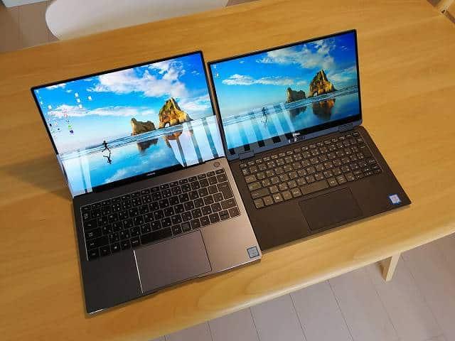 New XPS13 2-in-1 プレミアムとMatebook X Proを並べた画像