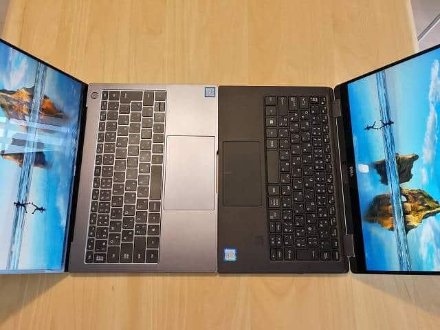New XPS13 2-in-1 プレミアムとMatebook X Proの横幅を比較した画像