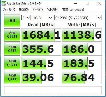 New XPS13 2-in-1 プレミアム のCrystalDiskMark計測結果画像