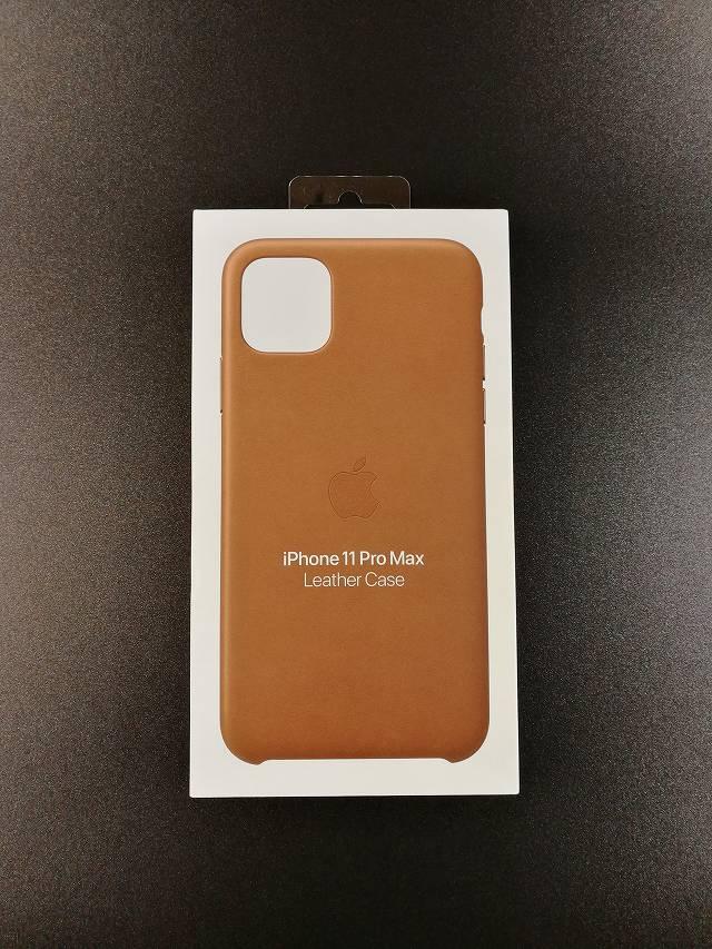 iPhone11 Pro Max Apple純正レザーケース サドルブラウンの外箱画像