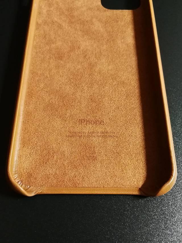 iPhone11 Pro Max Apple純正レザーケース サドルブラウンの内側の画像