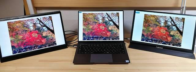 Lepow Z1 を使ってトリプルモニターにして暖色系の画面を出している画像