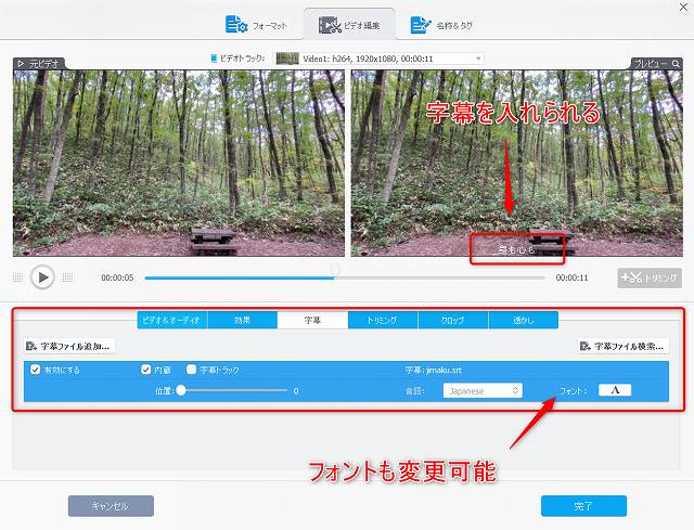 VIdeoProcの動画編集機能で字幕を埋め込むところのスクリーンショット