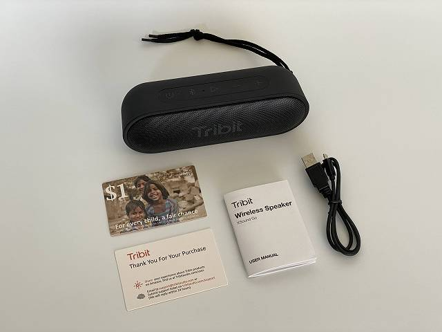 Tribit XSound Goの内容物一覧の画像