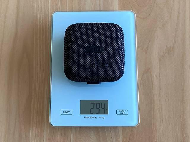 Tribit Stormbox Microの重さを計測した画像