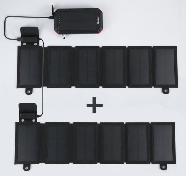 Harborのソーラーパネルを2枚連結している画像