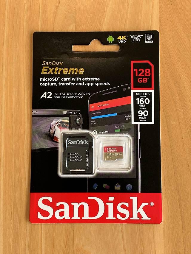 micro SDカード SanDisk Extreme UHS-1 U3 V30 のパッケージ画像