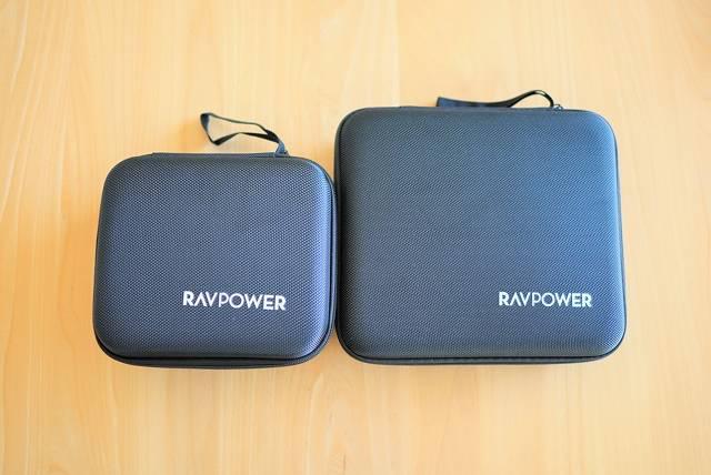 『RAVPower RP-PB054Pro』と『RAVPower RP-PB055』のケースの大きさを比較した画像
