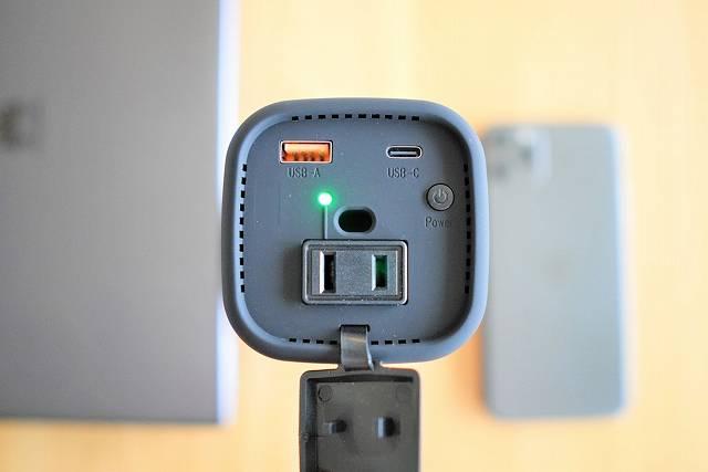 『RAVPower RP-PB054Pro』のACコンセントを起動してLEDが点灯した状態の画像