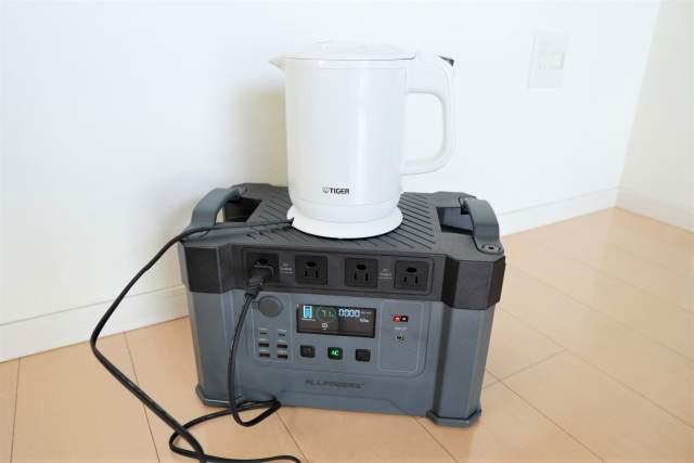 Monster X で電気ケトルを使ってお湯を沸かす画像