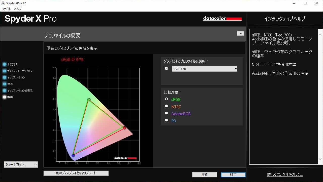 EVICIV EVC-1701 色域測定結果でsRGBカバー率を表示している状態のスクリーンショット