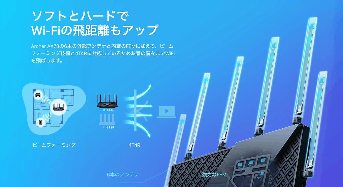 TP-Link Archer AX73 の6本のアンテナのイメージ画像