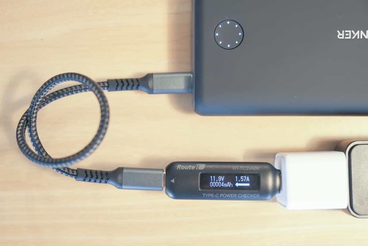 RAVPower RP-PC150でAnker PowerCore 13400 Nintendo Switch Editionを充電し、その際の出力を計測している画像
