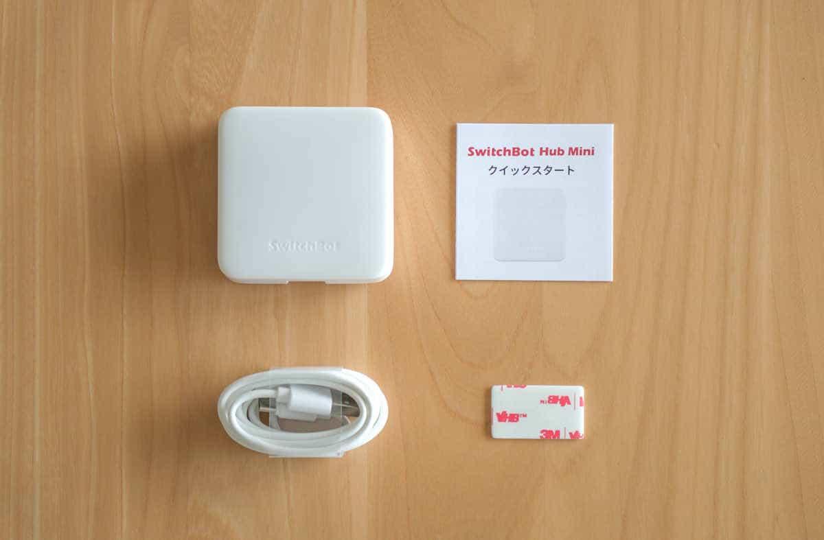 SwitchBot ハブミニの内容物一覧の画像