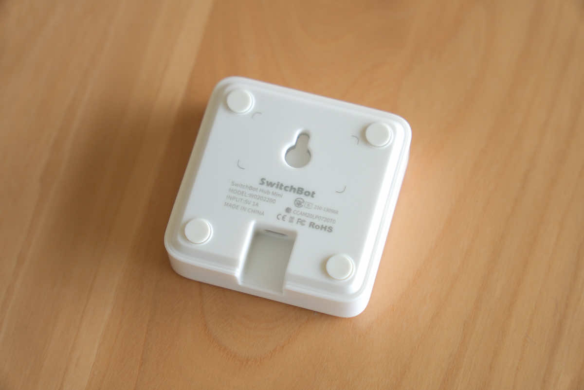 SwitchBot ハブミニの裏側の画像