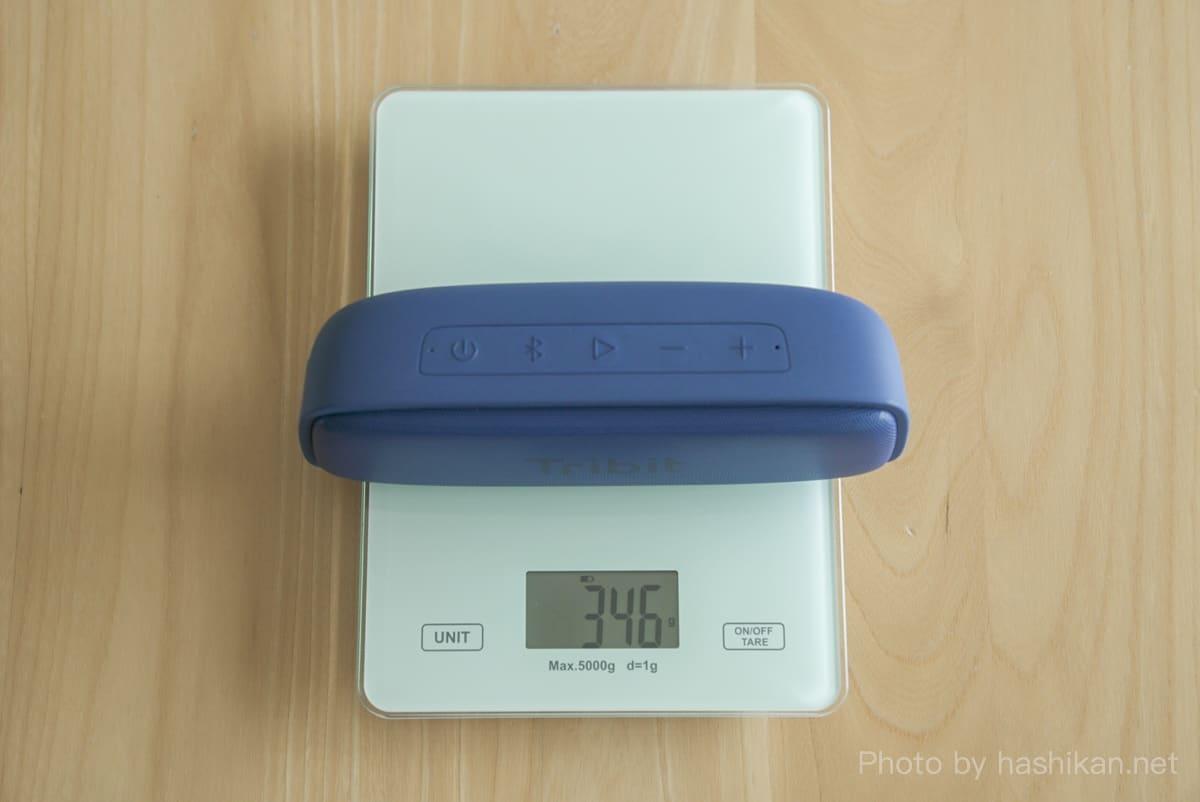 Tribit XSound Surfの重さを計測している状態の画像