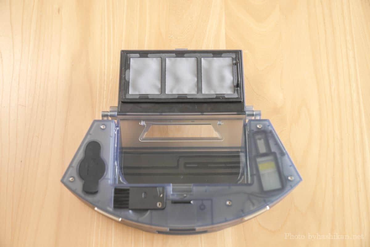 neabot NoMo Q11のダストボックスのゴミ収集ボックスの蓋を開いた状態の画像