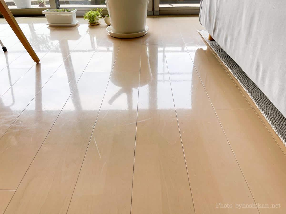 neabot NoMo Q11によって水拭き掃除したあとの床の様子