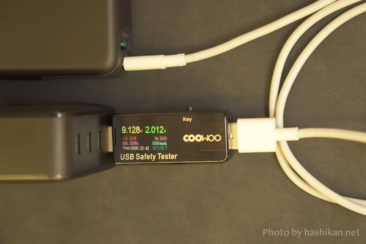 UGREEN PD充電器 65W GaN 4ポート充電器のTYPE-Aポートの出力を計測している状態の画像
