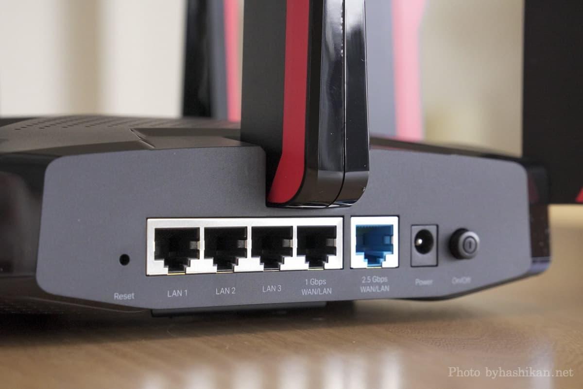 TP-Link Archer GX90 側面のLANポート部分の拡大画像