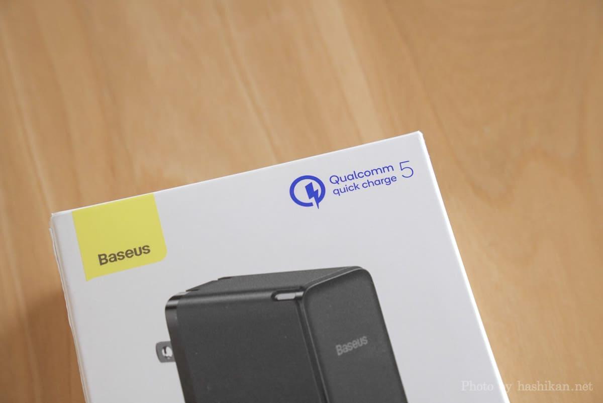Baseus GaN2 Fast Charger の外箱にプリントされているQC5.0のロゴ部分の拡大画像