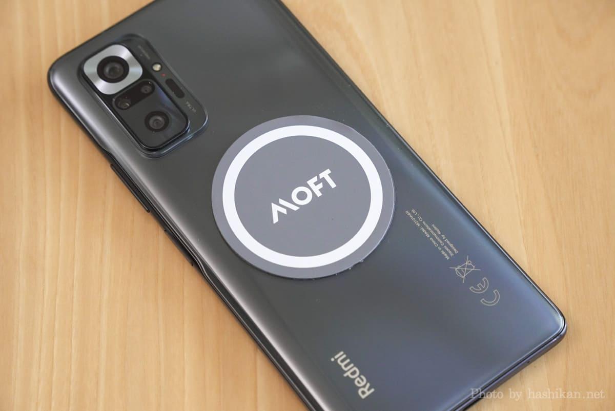 マグシール をAndroidスマホ(Redmi Note 10 Pro)に取り付けた状態の画像