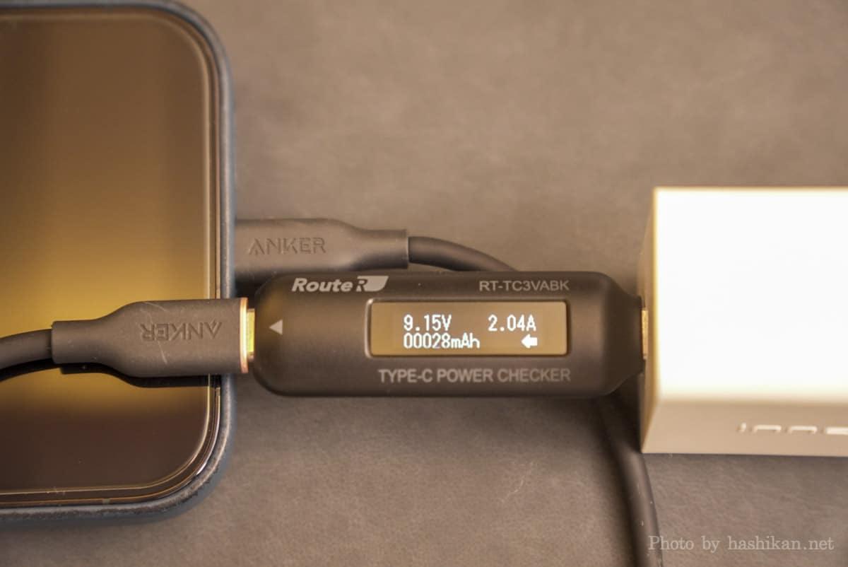 Innergie C6 Duo でiPhone 12 Pro Max に充電したときの出力を計測している画像