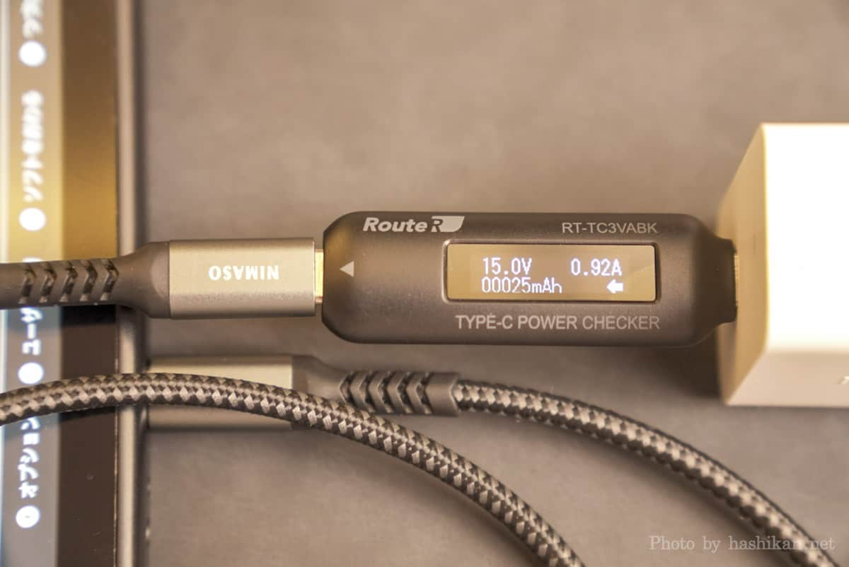 Innergie C6 Duo でNintendo Switchに充電したときの出力を計測している画像
