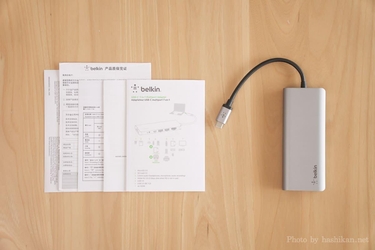 Belkin USB-C 7-in-1マルチポートハブアダプターの内容物一覧