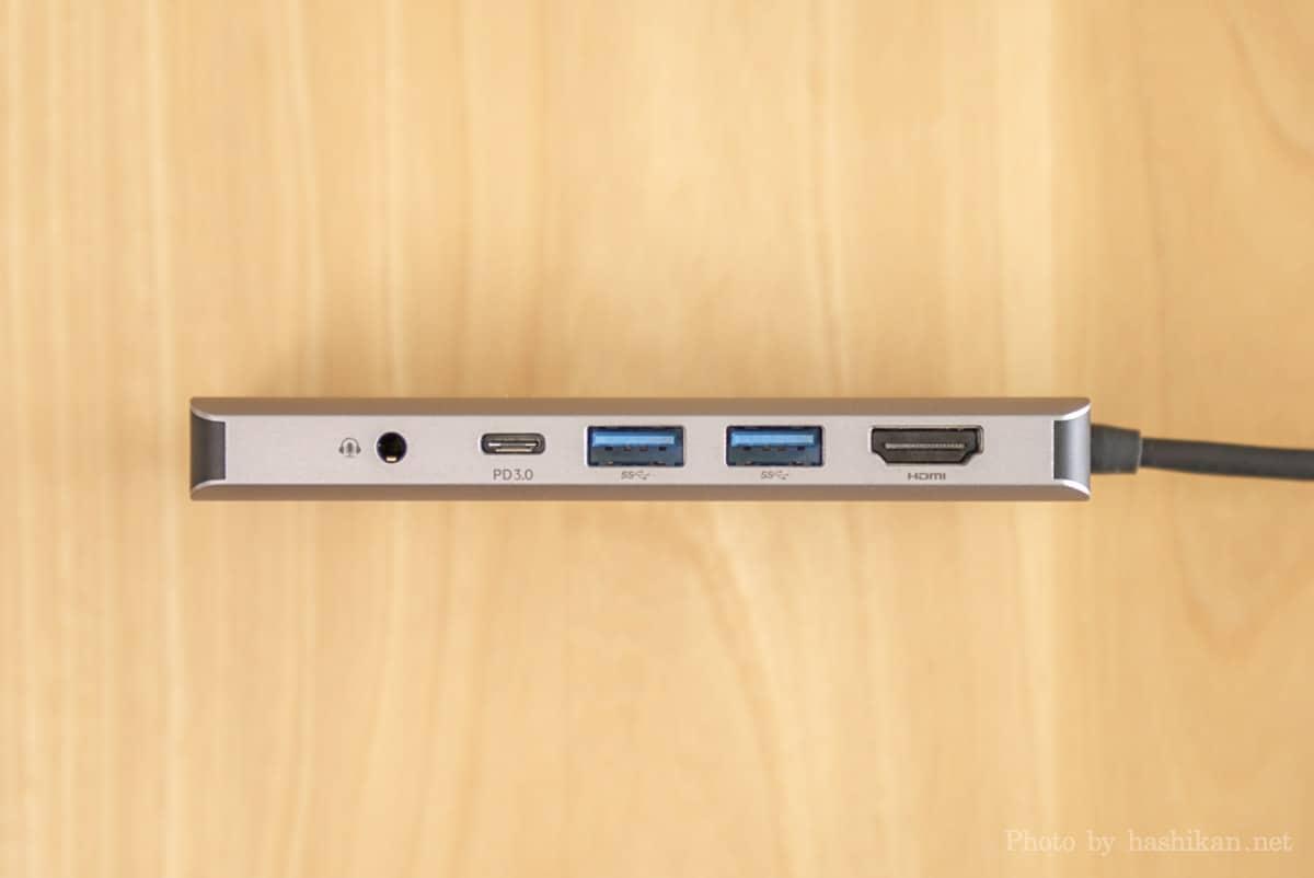 Belkin USB-C 7-in-1マルチポートハブアダプターのポート部分の拡大画像