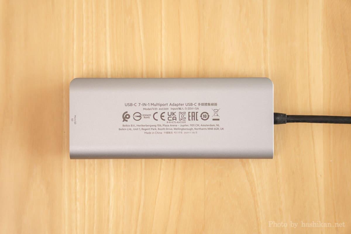 Belkin USB-C 7-in-1マルチポートハブアダプターの裏面部分の拡大画像