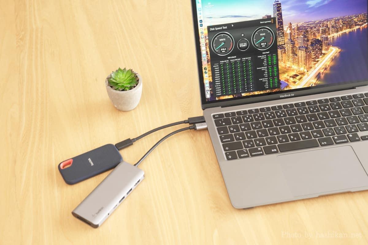 外付けSSDをMacBook Airに直接接続した場合