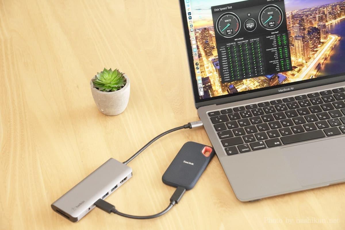 Belkin USB-C 7-in-1マルチポートハブアダプターをMacBookに接続してそこに外付けSSDを接続した場合